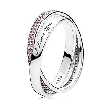 On Sale Authentic 925 Sterling Silver Ring for Women Sweet Promise Ring Pink CZ I Love You Gift fit Lady Jewelry