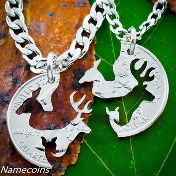 Family Necklace, Buck and Doe With Fawn Jewelry, Love Quarter by NameCoins