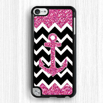 pink anchor case, ipod case,glitter ipod 4 case,pink ipod 5 case,touch 4 case,touch 5 case,ipod touch 4 case,ipod touch 5 case