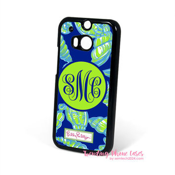 Lilly Pulitzer Green Shell a Little Tipsy Monogram HTC One M8 Case Cover for M9 M8 One X Case