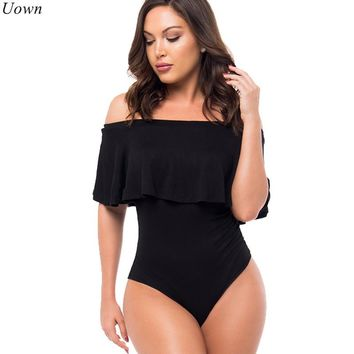 Ruffle Black Off Shoulder Bodysuit Summer Slash Neck Casual Beach Blouse Bodysuit Body Shirt Women Leotard Tops Mujer Camisas