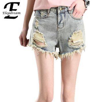 Elegdream 2017 European and American Summer Wind Female High Waist Denim Shorts Women Destroyed Hole Jeans Casual Short Trousers