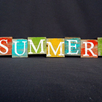 "Handpainted Reclaimed Aged Bright Colors Painted wood Art, Very Rustic and Shabby chic Sign ""SUMMER!"""