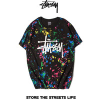 """Stussy"" Fashion Casual Male Female Cotton Colorful Spots Inked Print Letter Round Neck Short Sleeve Graffiti Couple T-shirt"