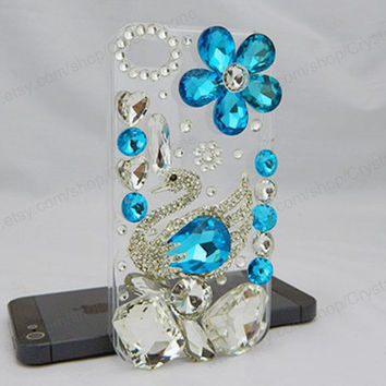 Swan Crystal blue iPhone case,bling iphone 6 case,Crystal iphone 6 Plus,Rhinestone iphone 5/5S/5c,iphone 4 case samsung galaxy S3/S4/S5