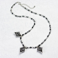 Beaded Rhombic Necklace, Black and Silver, hematite, 0802-3ne-blkslv
