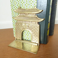 Foldable Asian brass pagoda bookend