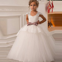 In Stock Flowers Girl Dresses Baby Pageant Dresses Birthday Cummunion Toddler Kids Tulle Wedding Party Formal Free shipping