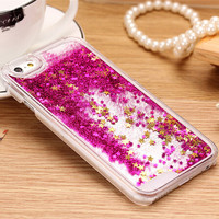 For iphone 5C New Clear Cellphone Back Cover Case Dynamic Liquid Glitter Sand Quicksand Star For iphone 5C Phone cases J0083