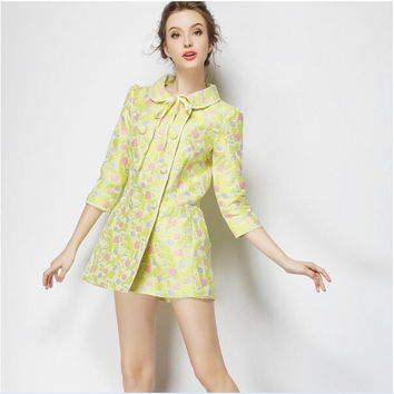 Yellow Jacquard Sleeve Peter Pan Collar Tie Dress Coat