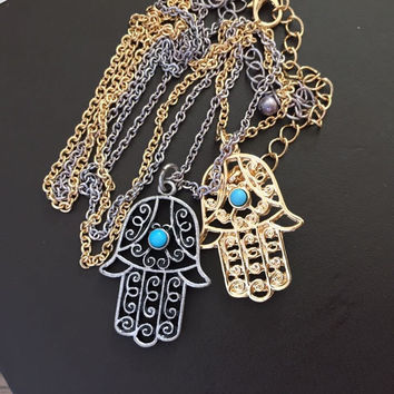 Classic The hand of Fatima hamsa Necklace jewelry Pendants Metal Chain Palm Statement Necklace Fashion for women colar