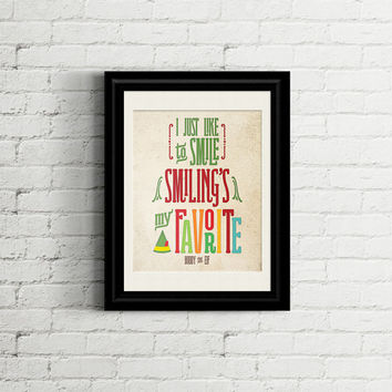 Buddy the Elf Smiling's My Favorite Printable Art INSTANT DOWNLOAD Typographic art in bright colors #christmas #buddytheelf #smilingfavorite