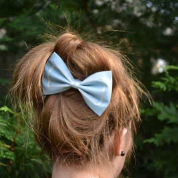 Hair Bow-Light blue, Fabric- Hair Bows, hair bows for women, hair bows for teens, fabric-Bow, Bowse