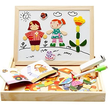 Lewo Magnetic Dry Erase Board Wooden Double-face Chalkboard Easel Toys Games for Kids
