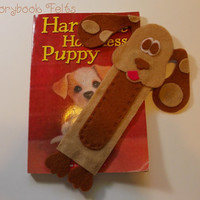 Felt Puppy Bookmark Blue or Brown With Spots