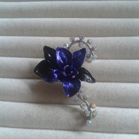 Closing sale - Purple and black  flower crystal  brooch pin