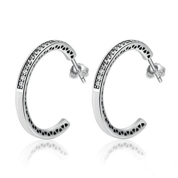 Pure Sterling Silver Hearts White Enamel Eye Hoop Earrings for Women by Ritzy