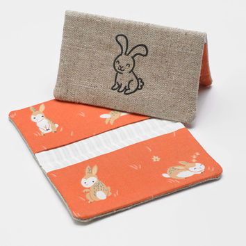 Business Card Case, Credit Card Holder, Fabric Gift Card Wallet in Organic Coral Bunny