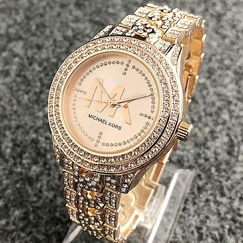 Michael Kors MK Stylish Women Men Full Diamond Movement Watch Wristwatch Rose Golden
