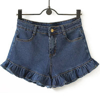 Blue High Waist Ruffled Denim Shorts