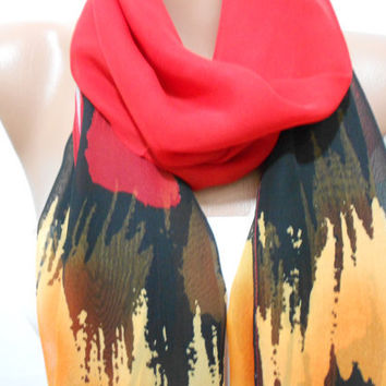 Multicolor Scarf Shawl, Red Black Orange Gray Cowl Scarf, Gift For Her For Mom, ScarfClub