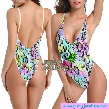 NEON SNAKE Sexy Rave Outfit Rave Bodysuit Women Colorful Psychedelic Festival Clothing Rave Clothing Festival Bodysuit Edc Outfits EDM