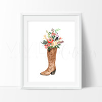 Floral Cowgirl Boot, Boho Art
