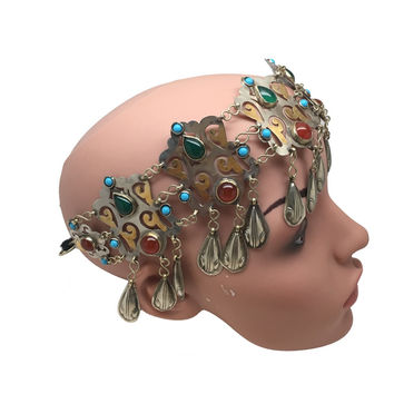 Vintage Handmade Ethnic AfghanTurkmen Tribal Headdress Headpiece/Choker, TH01
