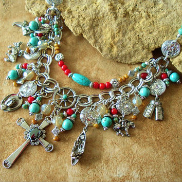 Southwest Statement Necklace, Junk Gypsy Jewelry, Vintage Charms, Cross Necklace, Turquoise Coral Cowgirl Jewelry