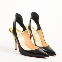 LMF3D5 Christian Louboutin Black and Gold Leather Spiked Survivita 100 Pumps