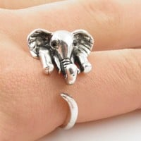 Silver Elephant Wrap Ring - SIZE 6