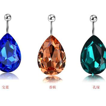 One Piece Delicate Crystal Oval Belly Button Rings.   Available in Light Blue, Dark Blue, Orange, Emerald Green, Clear and Multicolored.   ***FREE SHIPPING***  Shimmery!!