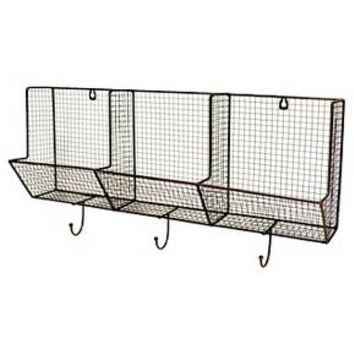 "Wire Basket with Hooks 3-Slot (12""X24"") - Threshold™"