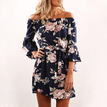 Sexy Off Shoulder Floral Print  Dress - Boho Style