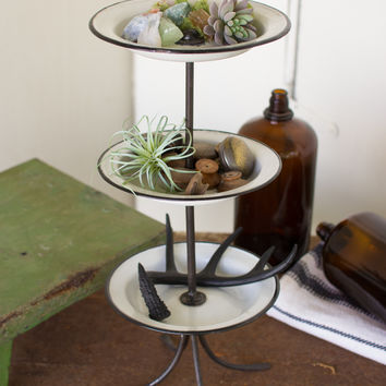 3 Tiered Enamelware Tower with Bowls & Hand Forged Iron Stand