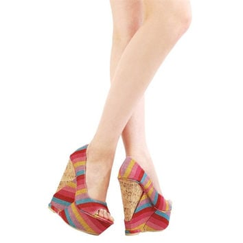 Wedge Heels With Multi Color Stripes, Cork Heel And Canvas Upper Pink (Small/Indie Brands)