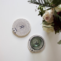 Grey Rope Woven Coasters, Set of 4