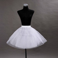 Wedding Dress Petticoat Crinoline Underskirt Hoopless Knee Tea Petticoat Short Skirt White Ivory Available Lycra Waist