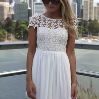 White Splended Angel Lace Crochet Daisy capsleeve tulle Dres from xeniaeboutique