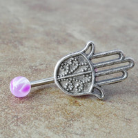 Hamsa Hand Belly Button Ring Jewelry by CuteBellyRings on Etsy