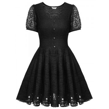 Women Ladies Short Sleeve Lace Floral Pleated Dress Front Button Sweet Party Slim Mini Dress
