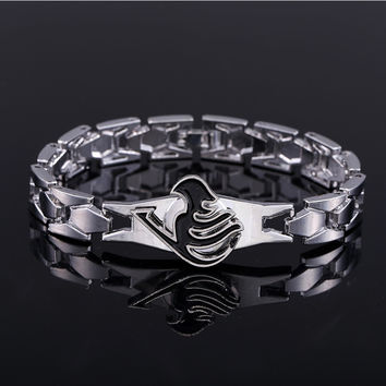 Hot Anime Silver Alloy Bracelets Fairy Tail Rotation Cosplay Accessories Metal Bangle can Drop-shipping