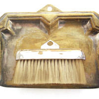 Antique 19th century silver plated brass silent butler / crumb tray with whisk brush - Antique brass houseware - Antique silver plated tray