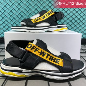 HCXX B030 Balenciaga Off White Casual beach shoes trendy fashion sandals Black Yellow