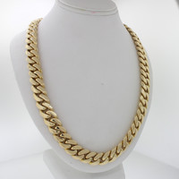 """Modern Men's Heavy 14k Solid Yellow Gold 31"""" inches Cuban Link Chain 403.6g"""