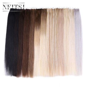 CREY78W Neitsi Straight Brazilian Skin Weft Hair Mini Tape In None Remy Human Hair Adhesive Extensions 20' 2.0g/s 20pcs/pack 13 Colors
