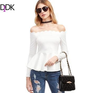 DIDK Woman Blouses Autumn Spring 2017 Women Clothing Elegant White Scallop Off The Shoulder Long Sleeve Peplum Top