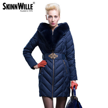skinnwille Gish villmergen fashion 2016 fashion high quality large fur collar thickening coat medium-long down female outerwear