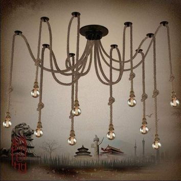Hemp Rope Chandelier Antique Classic Adjustable Diy Ceiling Spider Lamp Light Retro Edison Bulb Pedant Lamp for home