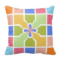 Cute Geometric Rainbow Squares Quatrefoil Center Throw Pillows